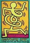Lot #354: KEITH HARING - Montreux [Jazz Festival] 1983 - Orange Background/Green Border - Original color silkscreen