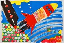 Lot #207: KIKI KOGELNIK [kiki o.k.] - Rocket Ship - Color lithograph