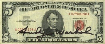 Lot #1279: ANDY WARHOL - Five Dollar Lincoln - Color engraving and letterpress
