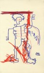 Lot #1543: JEAN-MICHEL BASQUIAT [imputee] - Untitled - Color markers drawing