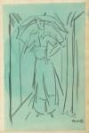 Lot #889: ALBERTO MAGNELLI - Signora con Ombrello - Watercolor and pencil drawing