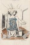 Lot #1203: GIORGIO DE CHIRICO - Interno con Figure Metafisiche - Mixed media drawing