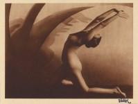 Lot #1047: FRANTISEK DRTIKOL - Nu courbé - Original vintage sepia-toned photogravure