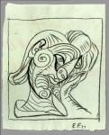 Lot #752: EMIL FILLA - Zeny hlavu doprava (Woman's Head to the Right) - Pencil drawing