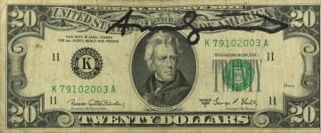 Lot #804: ANDY WARHOL - Twenty Dollar Jackson - Color engraving and letterpress