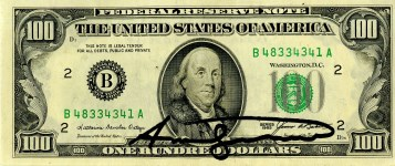 Lot #1022: ANDY WARHOL - One Hundred Dollar Franklin - Color engraving and letterpress