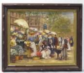 Lot #51: FRANCESCO MIRALLES Y GALUP - Vendedores de Flores - Oil on panel
