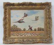 Lot #2245: FRANK W. BENSON [imputee] - A Brood of Pheasants - Oil on board