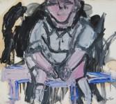 Lot #141: JAY MILDER - Subway Woman, New York City - Oil on paper