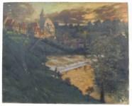 Lot #41: GEORGES PLASSE - Village au bord du fleuve - Oil on canvas