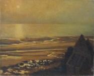 Lot #651: GEORGES PLASSE - Chiffres et bateau a la mer, le coucher du soleil - Oil on canvas