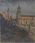 Lot #583: GEORGES PLASSE - Eglise au Baccarat - Oil on canvas