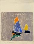 Lot #200: BEULAH TOMLINSON - Sailboats - White line color woodcut