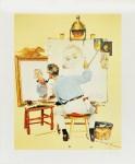 Lot #810: NORMAN ROCKWELL - Triple Self-Portrait - Color offset lithograph