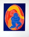 Lot #1059: KARIMA MUYAES - Niño Interior - Color reduction linocut