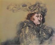 Lot #1299: RAFAEL CORONEL - Estudio para el Retrato de Delacroix - Color offset lithograph