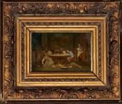 Lot #63: LOUIS AUGUSTE GEORGES LOUSTAUNAU - Un mariage de raison - Oil on panel