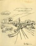 Lot #1172: HANS HOFMANN - Landscape - Pencil drawing on paper