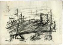 Lot #1774: CARLO CARRA [imputee] - Periferia de Milano - Charcoal drawing on paper