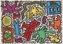 Lot #243: KEITH HARING - Pop Shop Tokyo Sticker Sheet - Color offset lithographic printing