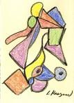 Lot #1365: LEE KRASNER - Composition - Conte crayon on paper