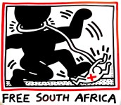 Lot #1261: KEITH HARING - Free South Africa - Color offset lithograph