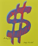 Lot #596: ANDY WARHOL [d'apres] - Dollar Sign $ [yellow background; red/blue symbol] - Color lithograph