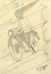 Lot #1856: FORTUNATO DEPERO [imputee] - Motociclista - Pencil and watercolor drawing on paper
