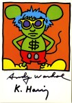 Lot #1470: KEITH HARING & ANDY WARHOL - Andy Mouse I, Homage to Warhol - Color offset lithograph
