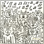 Lot #125: KEITH HARING - Ten Cats - Lithograph
