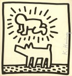Lot #956: KEITH HARING - Radiant Baby & Dog - Lithograph