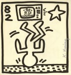 Lot #783: KEITH HARING - Upside Down on TV - Lithograph