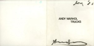Lot #76: ANDY WARHOL - Trucks - Autograph on paper