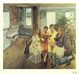 Lot #1928: LUCIAN FREUD - Large Interior W11 (after Watteau) - Color offset lithograph
