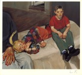 Lot #1761: LUCIAN FREUD - Polly, Barney, and Christopher Bramham - Color offset lithograph