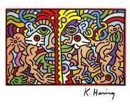 Lot #1318: KEITH HARING - Dolphin Man - Color offset lithograph