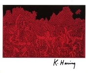Lot #2184: KEITH HARING - Black and Red - Color offset lithograph
