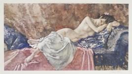 Lot #213: WILLIAM RUSSELL FLINT - Reclining Nude II - Original color collotype