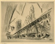 Lot #588: JOHN MARIN - Downtown, the El - Etching with drypoint