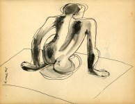 Lot #306: WILLEM DE KOONING - Nude Composition - Ink and wash drawing on paper
