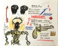 Lot #1652: JEAN-MICHEL BASQUIAT - Slave Ship - Oil pastel and pencil drawing on paper