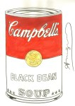 Lot #1396: ANDY WARHOL - Campbell's Black Bean Soup - Watercolor & pencil on paper