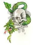 Lot #226: ESTELA WILLIAMS - Quetzalcoatl - Watercolor, ink, and colored pencils on paper