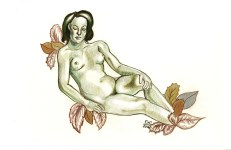 Lot #1046: ESTELA WILLIAMS - Nude and Leaves - Colored pencils on paper