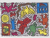 Lot #1757: KEITH HARING - Pop Shop Tokyo Sticker Sheet - Color offset lithograph