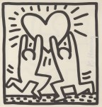 Lot #1555: KEITH HARING - Two Men with a Heart - Lithograph
