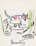 Lot #1280: JEAN-MICHEL BASQUIAT - Fish Corpse - Color offset lithograph
