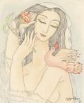 Lot #1196: LADO GUDIASHVILI - Jeune femme avec une fleur - Watercolor, pastel, and ink on paper