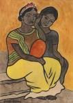 Lot #2088: DIEGO RIVERA [imputee] - Dos Mujeres, Descansando - Watercolor on paper