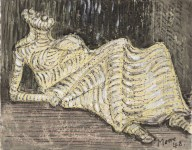 Lot #1721: HENRY MOORE - Reclining Figure - Watercolor, wax crayon, and pen and ink on paper